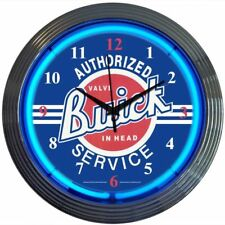 Authorized Valve-In-Head Buick Service Blue Neon Clock Great for Garage Man Cave