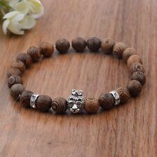 Men's Fashion Wooden Beads Handmade Elastic Cuff Silver Bracelets Jewelry Gifts