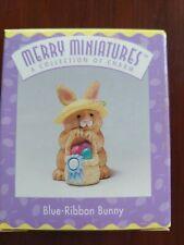 Blue Ribbon Bunny Hallmark Merry Miniatures 1 pc 1996 Easter basket Nos