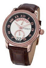 Stuhrling 788 Classique Swiss Made Rose Tone Day Date Brown Leather Strap Watch