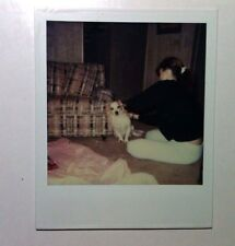 Vintage 80s Kodak PHOTO Young Woman Checking Funny Little Dog For Ticks In Home