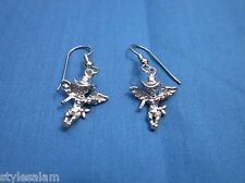 Earrings cowboy angel cowgirl sterling silver pierced wire western NEW on card
