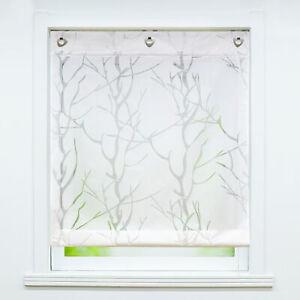 Weiß Raffrollo mit Haken Ösen Raffgardine Ausbrenner Gardine Vorhang ohne Bohren