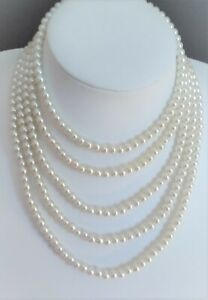 6mm White Glass Pearl Necklace ( Choice of Length & Clasps) NOW TRADE PRICES