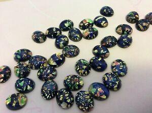Black Fire Oval 10x8mm Czech Cabochon Glass Jewellery pack of 8 CRAFT