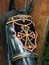 Medieval Baroque Costume Horse Bridle Faceplate handmade beaded / embroidered 1