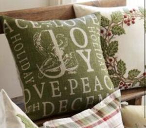 "Pottery Barn Jute Peace Joy Love Birds Holiday Pillow Case/Cover 20""x20"""