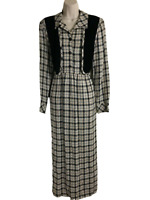 PRAIRIE DRESS 90s Brown & Black Plaid Midi Length Ties in Back by EXPO Size 12
