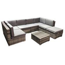 Sitzgarnitur Grau Polyrattan Lounge Möbel Sitzgruppe Gartengarnitur Gartenset 🌅