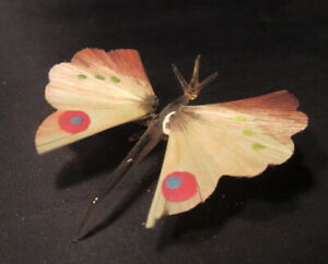 Antique Vintage glass butterfly w spun glass wings Christmas Ornament Germany