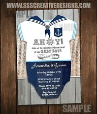 Ahoy Sailor Baby Shower Invitation Boy Baby Outfit Invitation Jumpsuit Set of 10