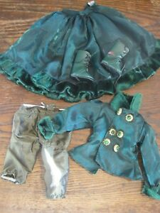 """VICTORIAN GREEN SATIN&VELVET OUTFIT JACKET/SKIRT/PANTELOONS/BOOTS FOR 17"""" DOLL"""
