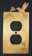 Engraved Humming Bird Wood Outlet Plate Cover