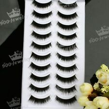 10 Pairs Natural Thick Long Soft False Eye Lash Eyelashes Bulk Wholesale EE