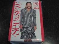 5242 Vintage Uncut Butterick SEWING Pattern Jacket Skirt 6 8 10 SEE SEW EASY OOP