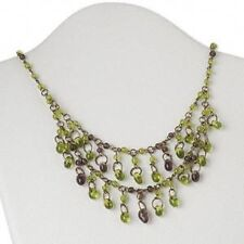 Double Strand Green Glass Bead Necklace Antiqued Brass