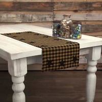 """Black STAR 36"""" TABLE RUNNER COUNTRY Check PRIMITIVE RUSTIC DECOR VHC BRANDS"""