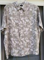Claiborne Mens XXL Shirt Button Front Short Sleeve Gray/Cream Rayon Straight Hem