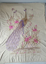 Ancienne grande Broderie Indochinoise Paon Papillons Fleurs Tissu C. 1930-1940