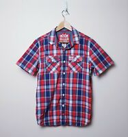 Superdry Mens Size M New Shirt Shop Wash basket Checked Plaid SS Button Up Shirt