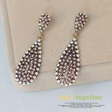 Boucles d`Oreilles CLIP ON Doré Goutte Deux Mini Perle Rose Cremeux Retro X14