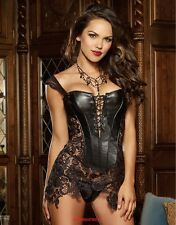 BLACK BEYONCE FAUX LEATHER AND DEEP VENICE LACE CORSET SIZES MED TO 2xl
