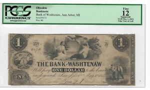 1854 $1 Bank of Washtenaw,Ann Arbor MI : PCGS F12 Apparent