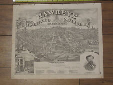 City of Des Moines 1875 Map Portrait - Hawkeye Insurance Company Polk County IA