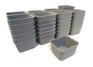 (Pack of 50) Gray Cage Cups for Chickens, Dogs, Pheasants, Rabbits Feed & Water
