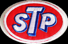 STP MOTOR OIL LOGO  IRON ON FABRIC EMBROIDERED PATCH 7cm x 5CM CAR RACING MOTO