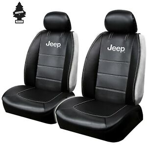 CAR SEAT COVERS SET FOR JEEP LOGO BLACK SIDELESS UNIVERSAL SIZE BRAND NEW DELUXE