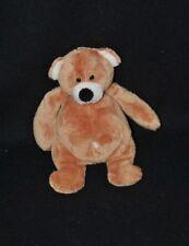 Peluche doudou ours beige brun marron LASCAR yeux durs 18 cm TTBE