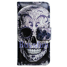 Bcov Cool Floral Skull Card Slot Wallet Leather Cover Case For Samsung Galaxy S5