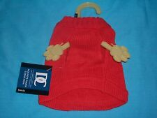 Sm Dog/Puppy/Cat~Red Winter Sweater~w/Bow Knitwear DC Hound's Tooth Collection