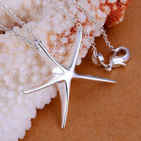Fashion 925 Silver charms jewelry Starfish Beautiful women Necklace jewelry