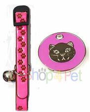 REFLECTIVE CAT COLLAR in PINK +FREE ENGRAVED QUALITY PINK CAT FACE ENAMELLED TAG