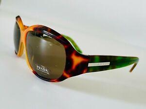 New Prada Sunglasses SPR01E 0be-5G1 in Green & Brown Grey Lenses Rare Chic