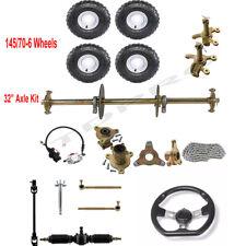 "32"" Go kart Rear Axle kit 6"" Wheels Steering Hub Tie Rod Brake Caliper ATV Buggy"