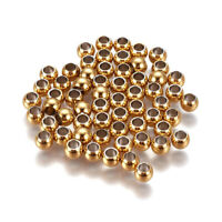 50x 304 Stainless Steel Metal Beads Smooth Round Tiny Gold Tone Loose Spacer 4mm