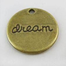 30X Antiqued Style Bronze Tone Word Dream Round Moon Pendant Charm 20*20*2mm