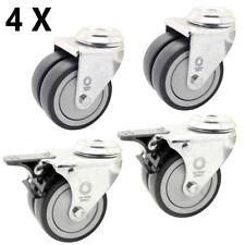 4 x Doppelrolle Rückenloch Rolle Transport Schwerlast Rollen Ø 75 mm Lenk-Brems