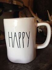 Rae Dunn HAPPY Mug Cup by Magenta Artisan Collection Farmhouse Style Lettering