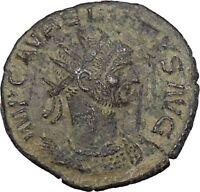 AURELIAN receiving wreath from woman  275AD Rare Ancient Roman Coin i46809