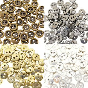 7mm Round Doll Clothes Sewing Sew On Plated Metal Miniature Buttons with Rim 60p
