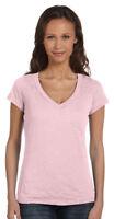 Bella + Canvas Women's Burnout Rib V Neck Trim Cap Sleeve Slim Fit T-Shirt. 8605