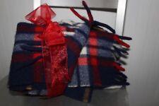 QUILTEX PRAM Wool Fringed Throw Small Blanket Tartan Red Blue Plaid