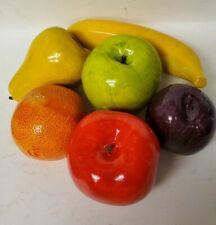 Vintage Enescoware Set of 6 Artificial Fruits Made in Japan Porcelainized Finish