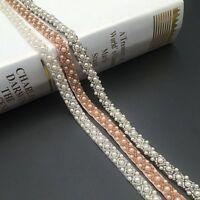 Vintage Pearl Beaded Trim Lace Ribbon DIY Crafts Wedding Dress Sewing Decor