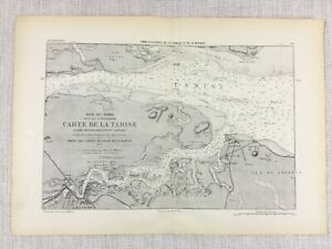 1881 Antique Military Map of The River Thames Isle of Sheppey Chatham Docks