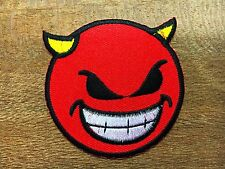 Embroidered Iron on Patch Motif Applique Decal Embroidery Devil Face Smiley